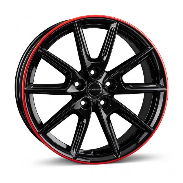 black glossy rim red