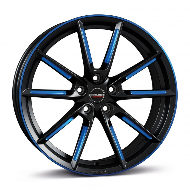 black matt spoke rim blue polished 19\'