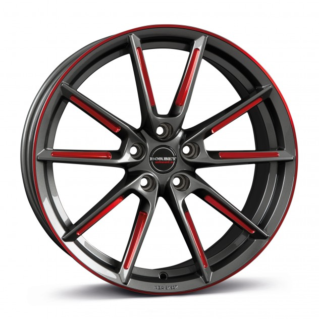 graphite spoke rim red polished 19\'